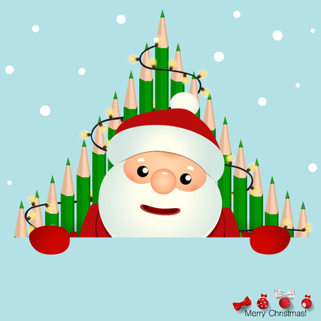 Christmas Greeting Card with Santa Claus and Christmas tree. Vector illustration.