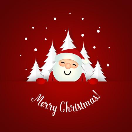 Christmas Greeting Card with Santa Claus and Christmas tree. Vector illustration.