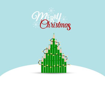 Christmas Greeting Card with Christmas tree. Vector illustration.