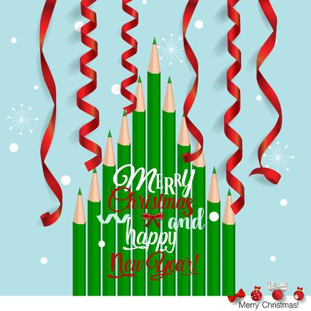 Christmas Greeting Card with Christmas tree. Vector illustration