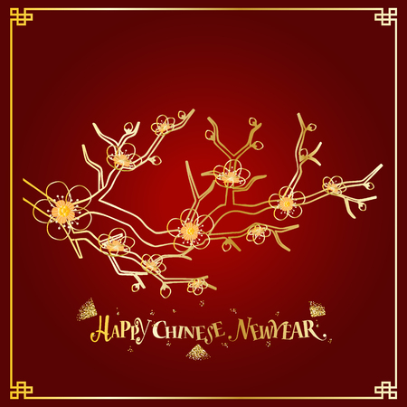 Chinese new year background design with Chinese New Year lettering. Vector Illustration.