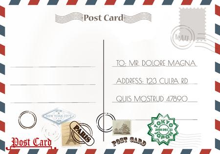 Sellos y diseños de postales vintage.