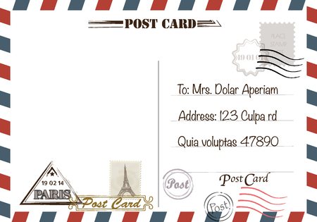 Vintage postcard designs and stamps.