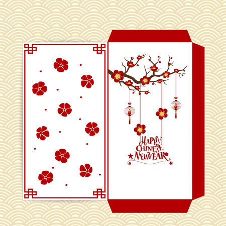 Chinese New Year Money Red Packet (Ang Pau) Design. Vector Illustration.