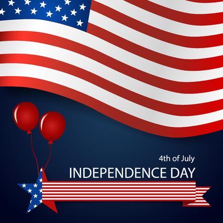 Happy independence day card United States of America. American Flag paper design, vector illustration. Ilustração