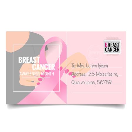 Breast Cancer Awareness Month background design. Breast cancer awareness pink ribbon. Vector Illustration. Ilustracje wektorowe