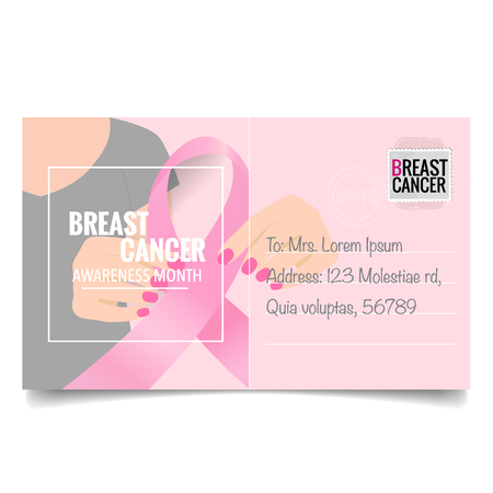Breast Cancer Awareness Month background design. Breast cancer awareness pink ribbon. Vector Illustration.