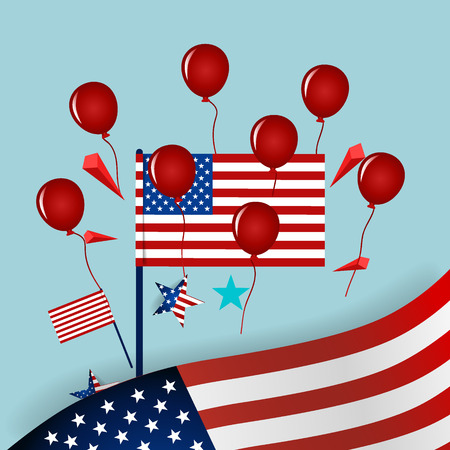 Happy independence day card United States of America. American Flag paper design, vector illustration. Illustration