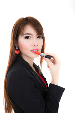 Young woman Make up with makeup lipstick Stock Photo