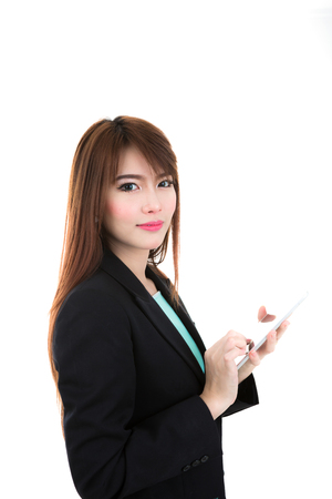 Business woman holding a tablet computer isolated on white background Stock Photo