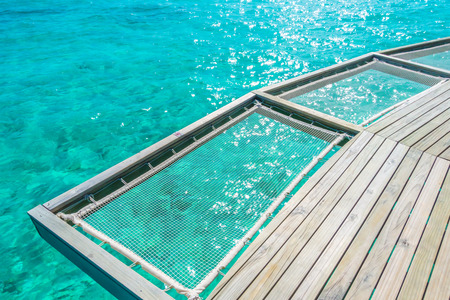 Vacation net seat in tropical Maldives island and beauty of the sea with the coral reefs Stockfoto