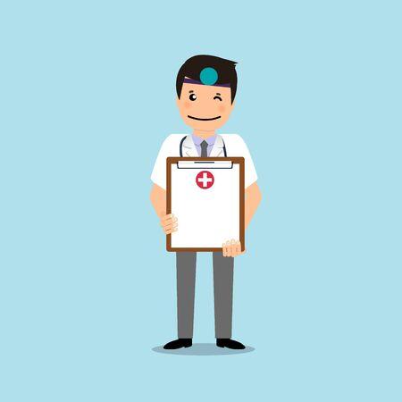 Doctor holding medical clipboard, vector illustration. Concept healthcare. Medical background.  イラスト・ベクター素材