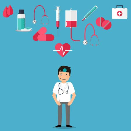 Doctor with medical tool and medical instrument , vector illustration. Concept healthcare. Medical background.