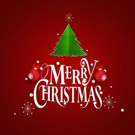 Carte de voeux de Noël. Joyeux Noël lettrage avec arbre de Noël, illustration vectorielle.