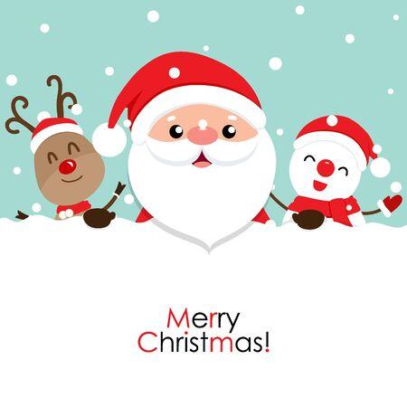 Tarjeta de felicitación navideña con Santa Claus, renos y muñeco de nieve. Ilustración vectorial. Ilustración de vector