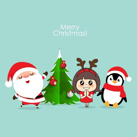 Santa Claus, Penguin and Cute girl with santa costume. Christmas background. Christmas Greeting Card. Vector illustration. 일러스트