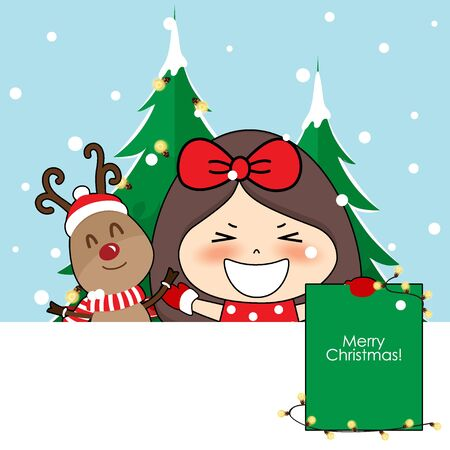 Cute reindeer and Cute character girl with santa costume. Christmas background. Christmas Greeting Card. Vector illustration.