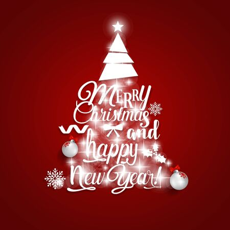 Christmas Greeting Card. Merry Christmas and Happy New Year lettering with Christmas tree, vector illustration. Vektorové ilustrace