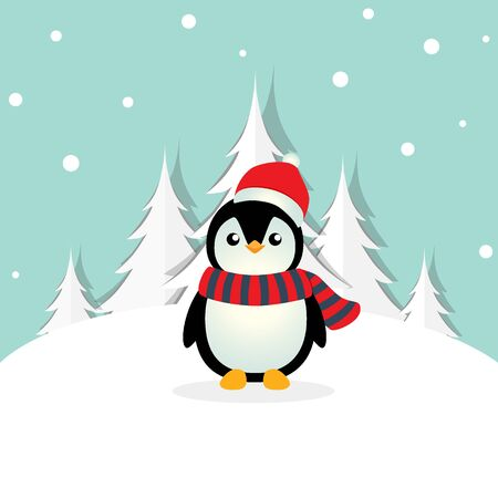 Holiday Christmas greeting card with Penguin cartoon. Vector illustration.
