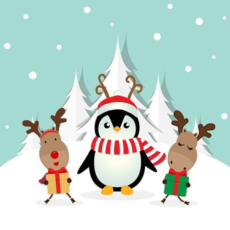 Holiday Christmas greeting card with Santa Claus, reindeer and Penguins cartoon. Vector illustration.