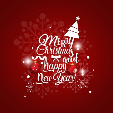 Christmas Greeting Card. Merry Christmas and Happy New Year lettering with Christmas tree, vector illustration.