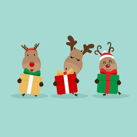 Holiday Christmas background with Reindeer. Vector illustration.