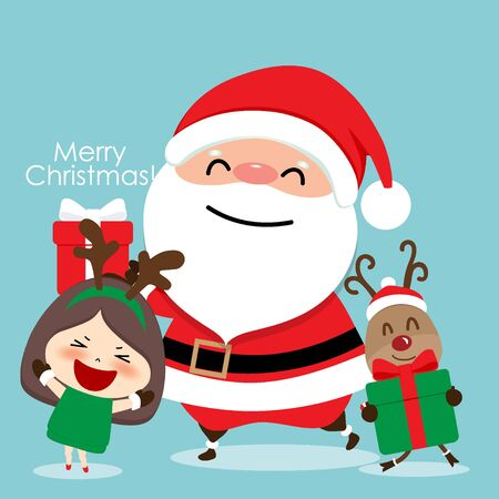 Christmas Greeting Card with Christmas Santa Claus, reindeer and cute girl. Vector illustration.