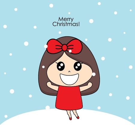 Cute character girl with santa costume. Christmas background. Christmas Greeting Card. Vector illustration.