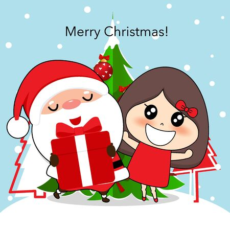 Santa Claus and cute character girl with santa costume. Christmas background. Christmas Greeting Card. Vector illustration. Ilustracja