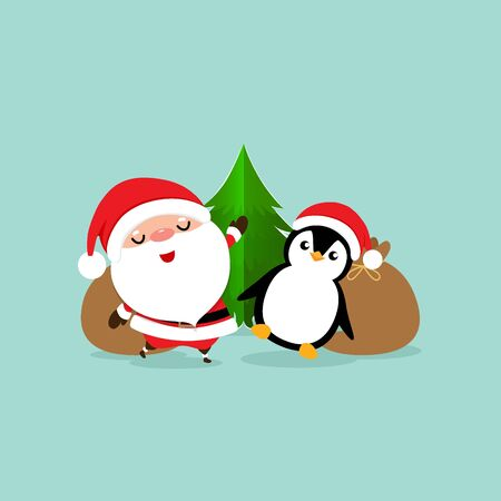 Holiday Christmas greeting card with Santa Claus, and Penguin cartoon. Vector illustration.