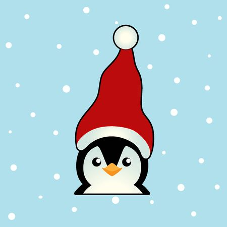 Penguin. Christmas background. Christmas Greeting Card. Vector illustration.