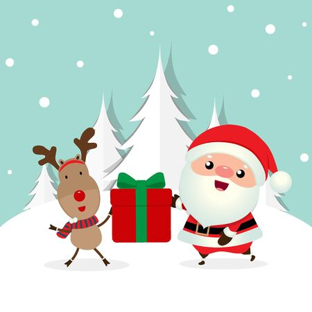 Christmas Greeting Card with Christmas Santa Claus and reindeer. Vector illustration.
