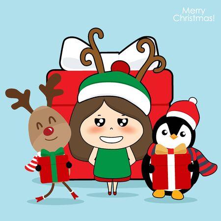 Renne mignon, pingouin et fille de personnage mignon avec costume de père Noël. Fond de Noël. Carte de voeux de Noël. Illustration vectorielle.