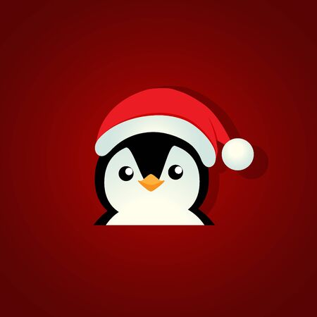 Holiday Christmas background with Penguin cartoon. Vector illustration.
