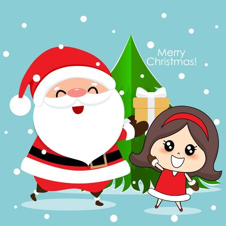 Santa Claus and Cute girl with santa costume. Christmas background. Christmas Greeting Card. Vector illustration.