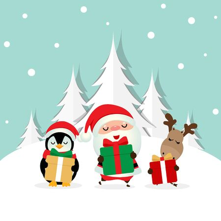 Christmas Greeting Card with Christmas Santa Claus ,Penguin and reindeer. Vector illustration.