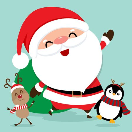 Holiday Christmas greeting card with Santa Claus, reindeer and Penguin cartoon. Vector illustration.