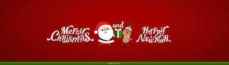 Christmas Greeting Card. Christmas Background with Merry Christmas and Happy New Year lettering, vector illustration.