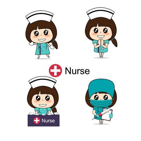 Zeichentrickfigur Krankenschwester Design, medizinischer Arbeiter, medizinisches Konzept. Vektorillustrationsdesign. Vektorgrafik