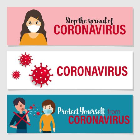 Protect yourself from the coronavirus. Coronavirus (COVID-19), Coronaviruses (CoV), A novel coronavirus (COVID-19). Vector illustration. 일러스트