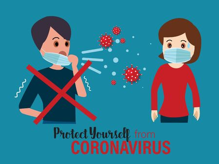 Protect yourself from the coronavirus. Coronavirus (COVID-19), Coronaviruses (CoV), A novel coronavirus (COVID-19). Vector illustration. Illustration