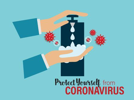 Protect yourself from the coronavirus. Coronavirus (COVID-19), Coronaviruses (CoV), A novel coronavirus (COVID-19). Vector illustration. Ilustrace