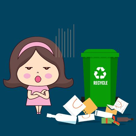 Throw garbage in place. ECO FRIENDLY. Ecology concept. Vector illustration.