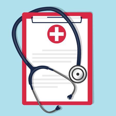 Medical background with stethoscope and medical clipboard. Vector illustration. Ilustração Vetorial
