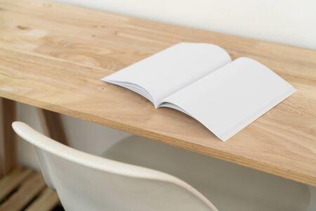 Blank catalog, magazines, book, mock up on wood background. Archivio Fotografico