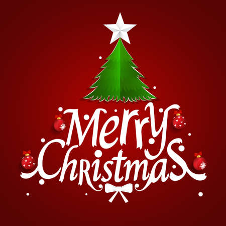 Christmas Greeting Card. Merry Christmas lettering with Christmas tree, vector illustration