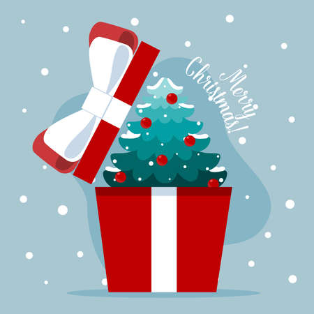 Opened gift box with Christmas tree. Merry Christmas and happy new year. Vector Illustration