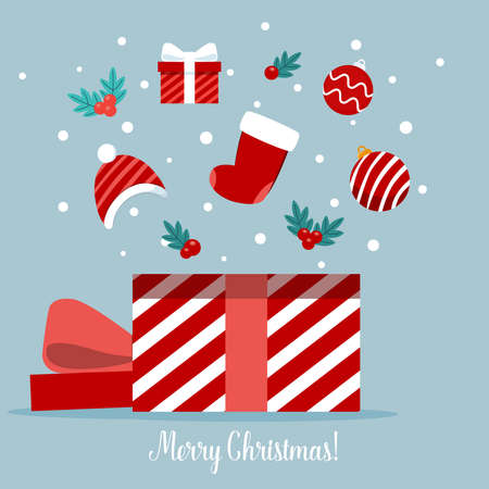 Open gift box full of decorative festive object. Merry Christmas and happy new year. Vector Illustration