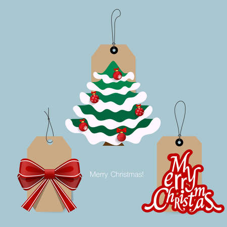 Christmas Sale Tags and Clearance Tags. Festive christmas design. Vector illustration