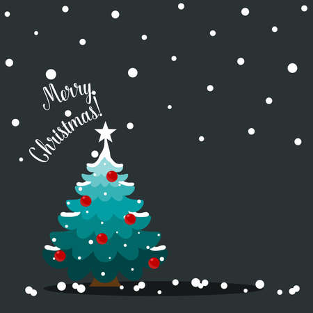 Christmas tree. Merry Christmas and happy new year greeting card. Vector Illustration
